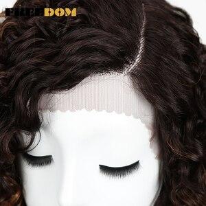 Image 5 - Vrijheid Afro Kinky Krullend Pruiken Voor Zwarte Vrouwen Hittebestendige Lace Front Pruiken Ombre Bruin Caramel Kleur Hoge Temperatuur