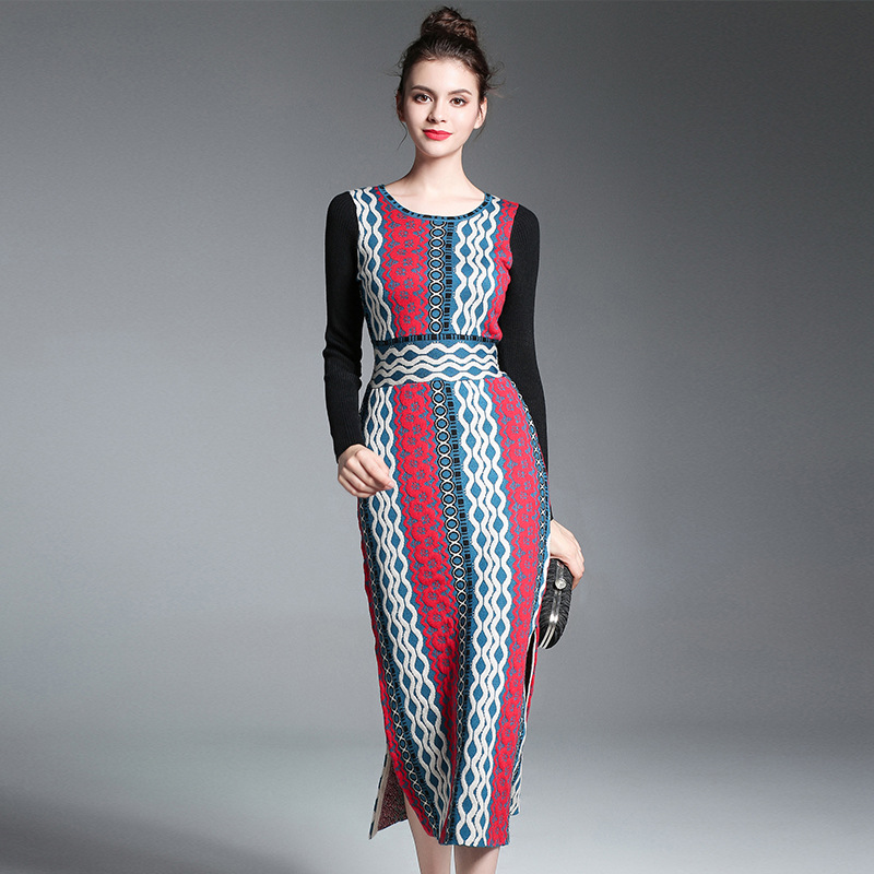 Micosoni High Quality European Runway Winter 2018 New Long Sleeved Knit Sweater Dress Wool Slit Elastic Black Red Blue M XL