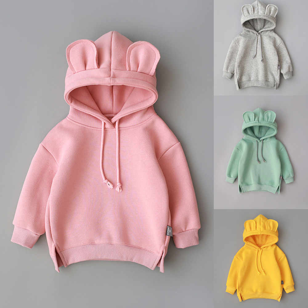 2019 new baby fleece hooded solid color sweater Toddler Baby Kids Boy Girl Hooded Cartoon 3D Ear Hoodie Sweatshirt Tops Clothes