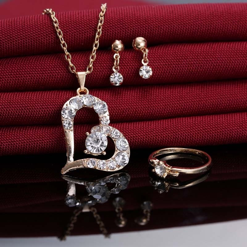 2016 New Style Heart Shape Rhinestone Jewelry Set Necklace Earrings Ring Wedding Engagement Bride Jewely