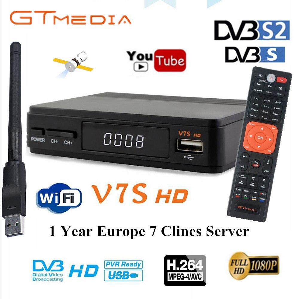 New 1 Year Europe 7 Clines Server GTMedia V7S HD Digital Satellite Receiver DVB-S2 V7S HD Full 1080P+USB WIFI Upgrade Freesat V7