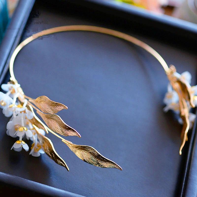 Gold Leaf Baroque Tiara Headband Flower Crown Hair Jewelry Bridal Hairband Headpiece Hair Band Wedding Hair Accessories WIGO1156
