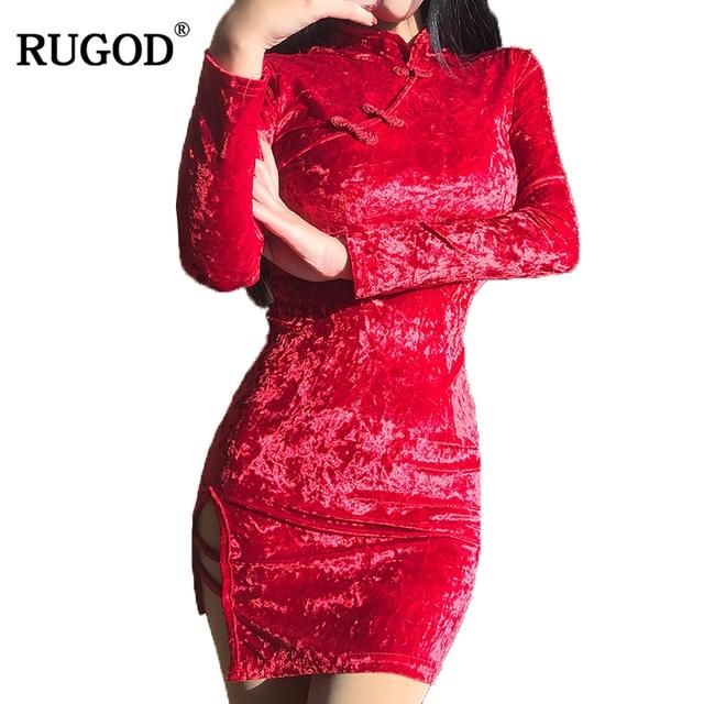 230552b3e5f RUGOD New Party Club Dresses Women 2018 Classic Sexy Chinese Cheongsam  Bodycon Dress Female Stand Collar Long Sleeve Mini Dress