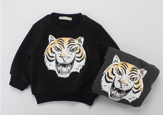 2016 outono inverno dos miúdos tigre 3d camisolas hoodies calças conjuntos de roupas de bebê menino roupa dos miúdos kikikids clothing vetement enfant