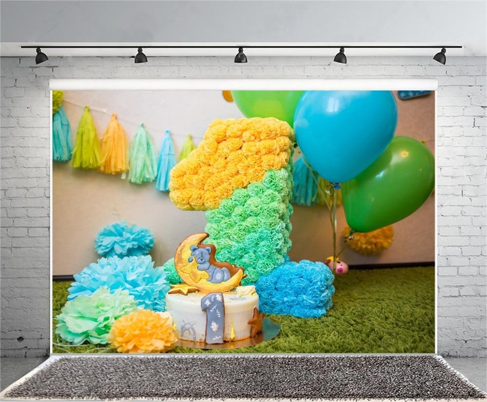 Laeacco Ballon Baby 1e verjaardagstaart Bloemendecor Deken - Camera en foto - Foto 4