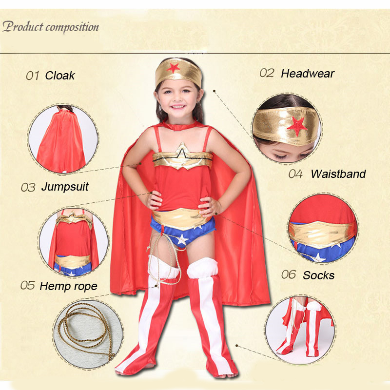 a694d9df4 2018 Children's Wonder Woman Costume Girl Cosplay Clothing Red Halloween Costume  Kids Superhero 6PC Clothes S XL-in Girls Costumes from Novelty & Special ...