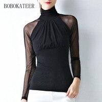 BOBOKATEER 2017 Casual Long Sleeve O Neck White Black Gray Slim Plus Size Women Clothing Tshirt