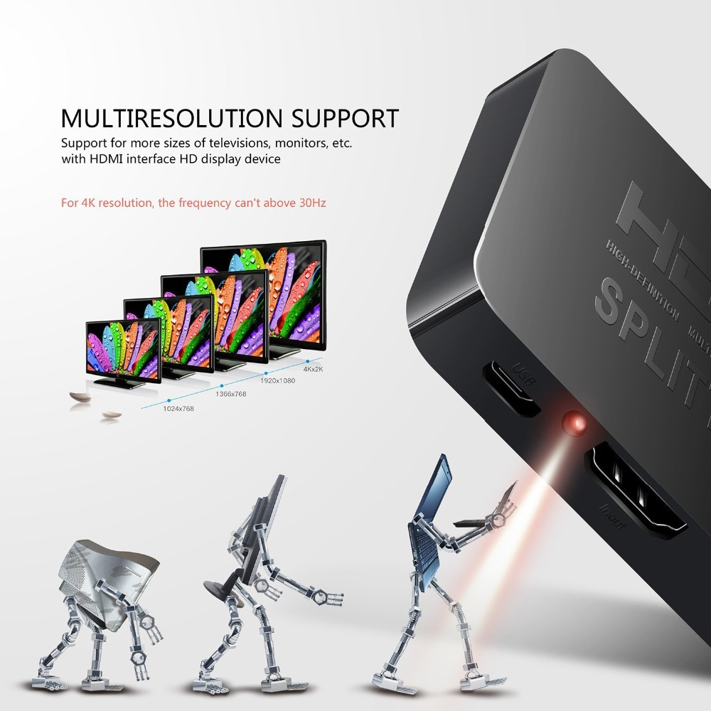 HDMI 1 in 2 out  2K4K 1x2 HDCP Stripper Signal Amplifier HDMI Splitter Switch 1 Input 2 Output 4K HDMI Switcher for PC Laptop (2)