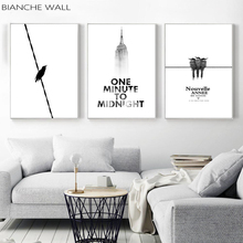 BIANCHE WALL Bird High-rise Time Inspirational Black and White Decoration Modern Wall Art Painting Nature Decorative Picture
