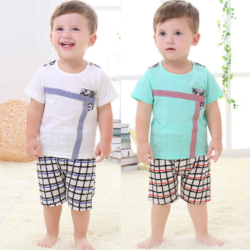 1-5Y Lovely Baby Boy Short Sleeve Print Tops Blouse T-shirt+Shorts Outfits Sets