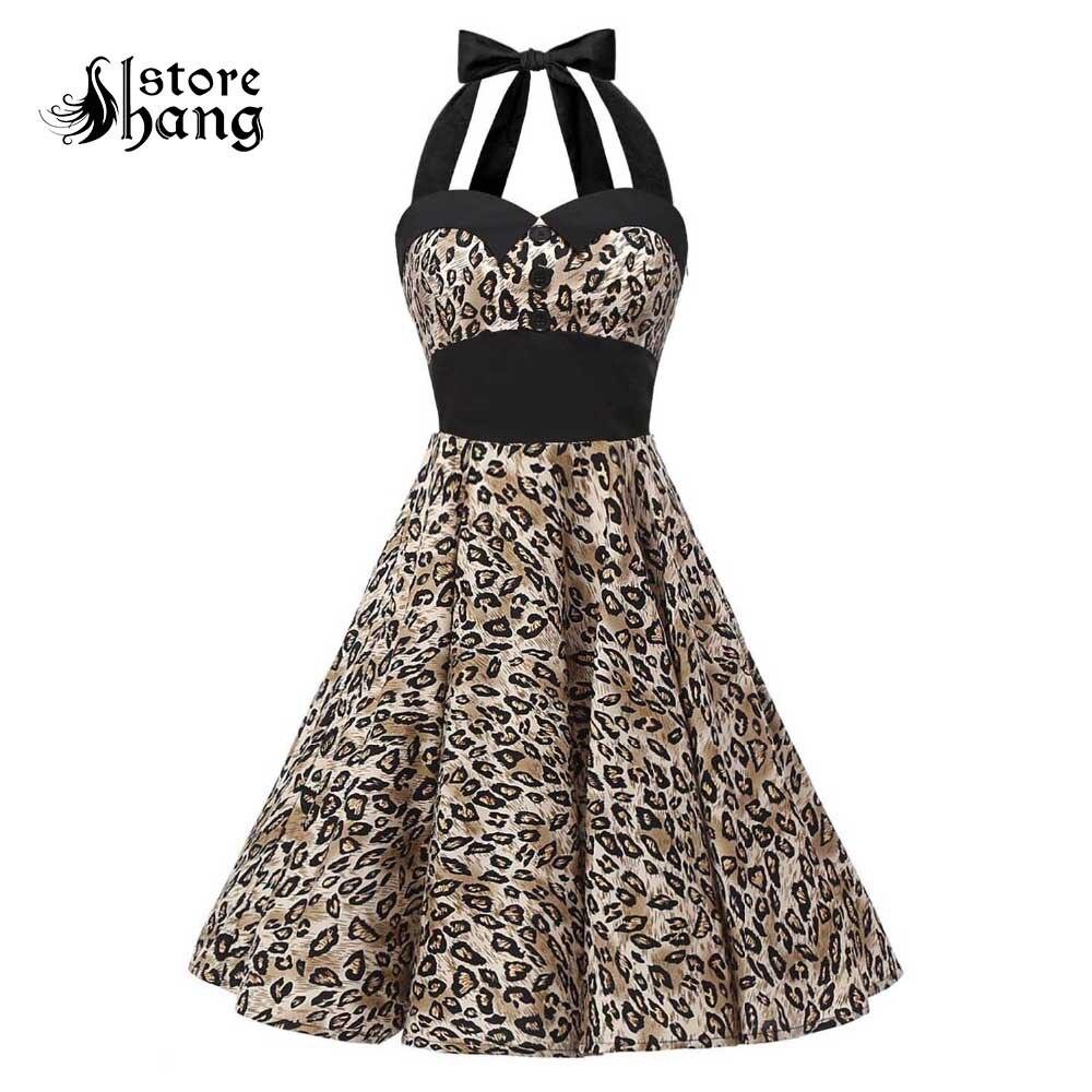 US $28 5 50% OFF|Vintage 1950s Halter Cocktail Party Swing Dress With Belt  Retro Style Audrey Hepburn Leopard Prints Rockabilly Dress for Women-in