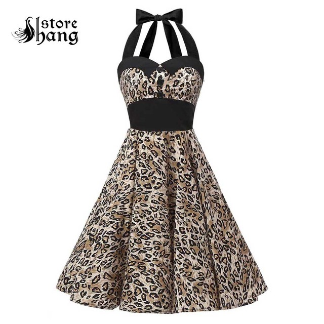 eed4266ed8d4 Vintage 1950s Halter Cocktail Party Swing Dress With Belt Retro Style  Audrey Hepburn Leopard Prints Rockabilly Dress for Women