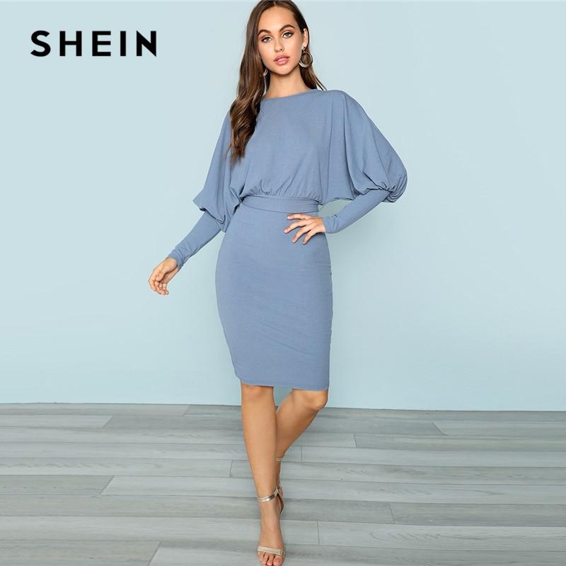 SHEIN Bleu Gigot Manches Robe Crayon Élégant Vêtements De Travail Jambe-de-mouton Manches Extensible Robes Femmes Automne Chemise Plaine robe