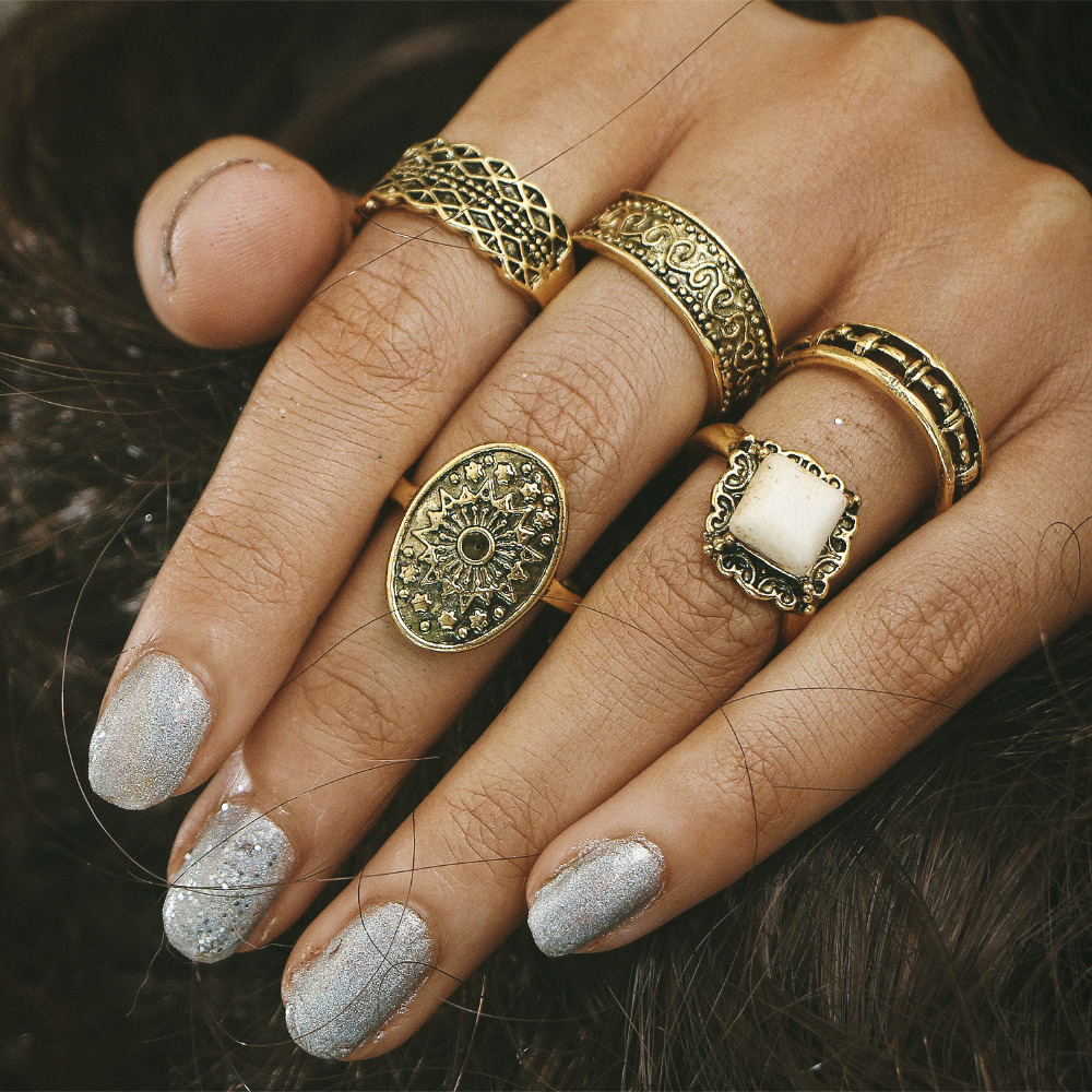5 Pieces/Set White Natural Stone Knuckle Rings Set Antique Gold Color Square Hollow Flower Midi Finger Ring Women Men Jewelry
