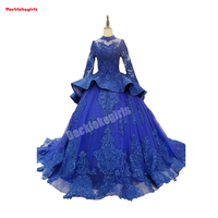 Backlakegirls Vintage Ball Gowns Wedding Dress Girls Muslim Blue 3d Flower Appliques Elegant Long Sleeve 2018 Bridal Gowns Hot