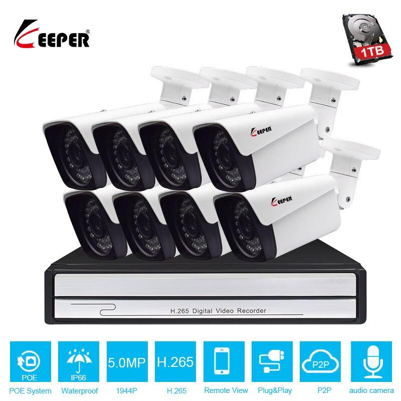 Système de NVR de POE de Keeper H.265 8CH 5MP avec 8 pièces 5MP Onvif caméra de vidéosurveillance de sécurité d'ip de POE avec le kit haut-parleur de caméra de télévision en circuit fermé