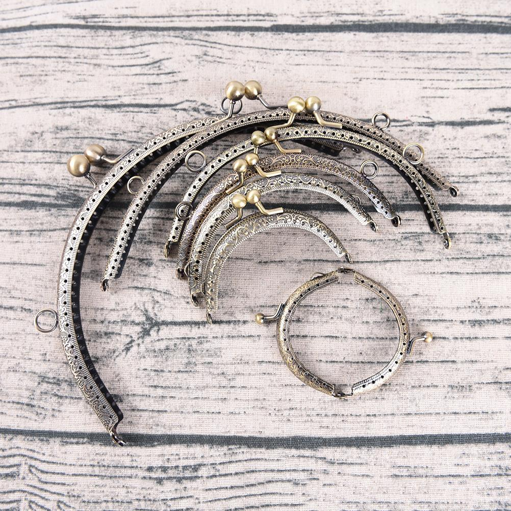 1pc 7Sizes DIY Delicate Antique Brass Metal Purse Frame Ring Kiss Clasp Handle For Bag Craft Bag Making Wallet Clip