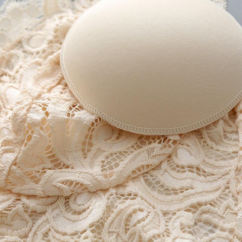 Leechee сексуальный жилет шелк без стального бюстгальтера модная Сексуальная кружевная Женская майка с нагрудным подкладом тонкий бюстгальтер TGB 003 - 4