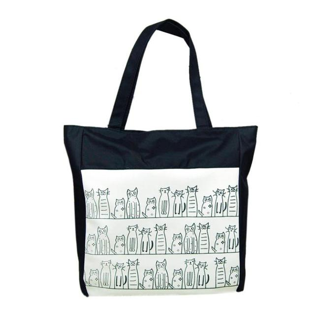 Canvas Shoulder Bag With Cute Cats Print