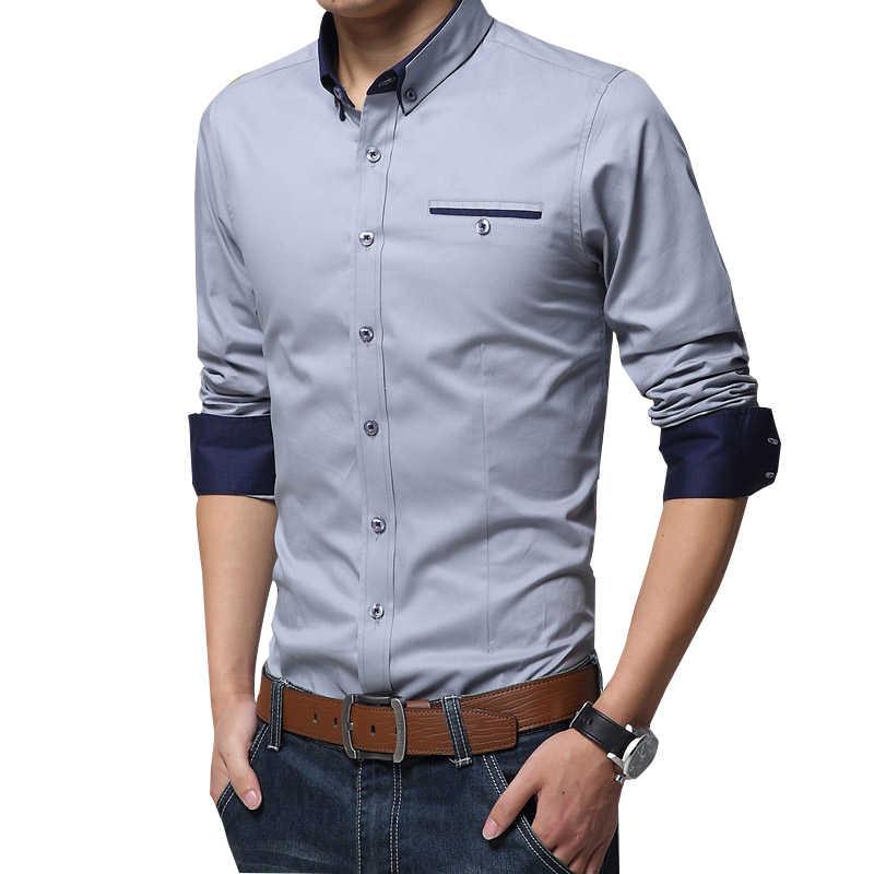 읽기 쉬운 캐주얼 사회 공식 셔츠 남성 긴 소매 셔츠 비즈니스 슬림 사무실 셔츠 남성 코튼 망 드레스 셔츠 화이트 4XL 5XL