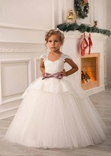 2017 Ball Gown Cap Sleeve Lace Flower Girl Dresses With Sashes Belt Custom Made Communion Dresses Party Gown For Girl