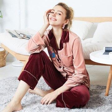 Daeyard Women Luxury Velvet Sleepwear   Pajamas   Autumn Winter Embroidery   Pajama     Set   Fashion Contrast Color Pyjamas Nighty Homewear