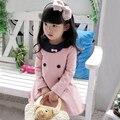 Детская одежда девочек, осень ребенок одежда ребенок случайный принцесса цельный платье
