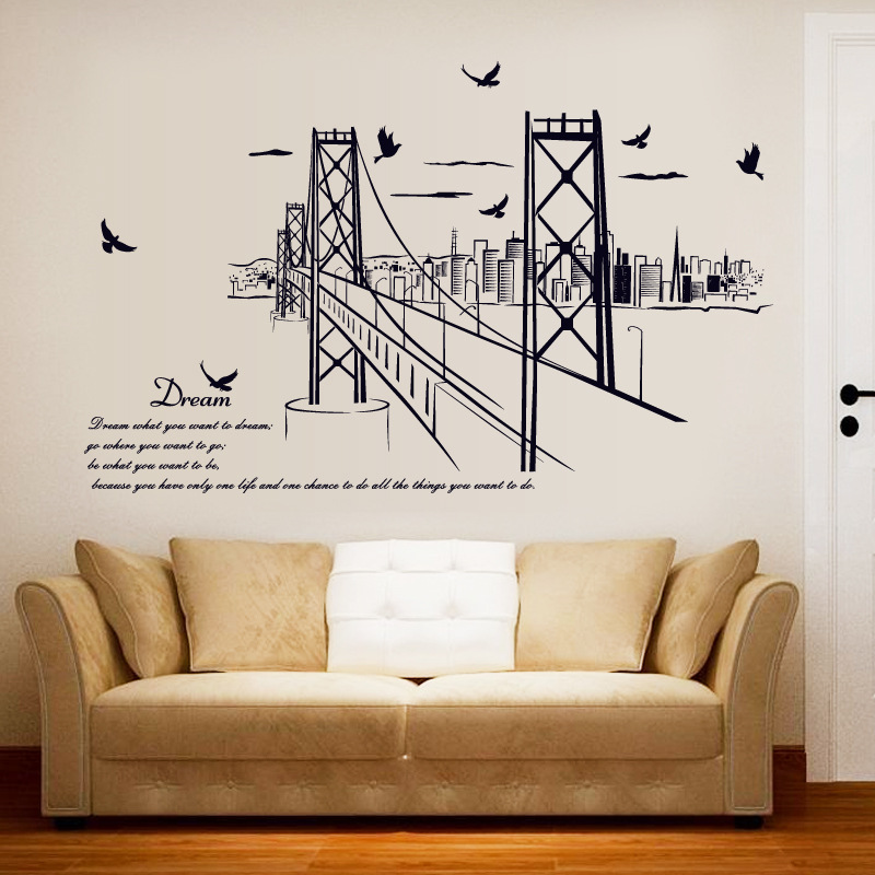 Large Black san Francisco Bridge City Silhouette Home Decor Wall Stickers Living Room Study Office Landscape Sticker urban decal