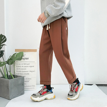 Fashion Casual Men's Straight Pants Autumn And Winter New M-2XL Solid Color Loose Trousers Black Brown Personality Youth Popular цена