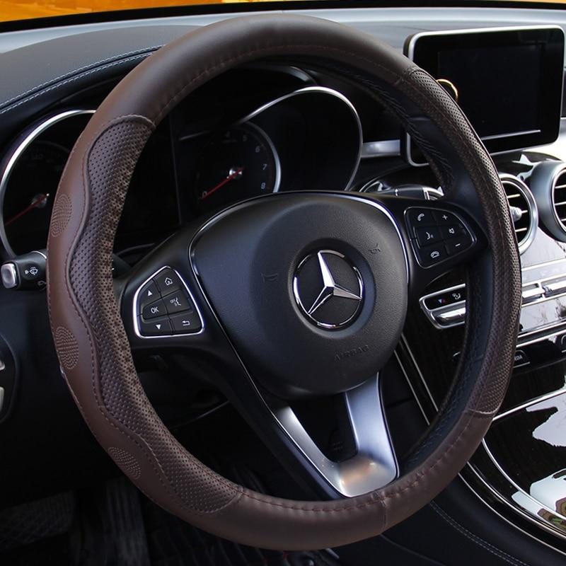 39cm Universal 37cm Black 100/% Leather Steering Wheel Cover