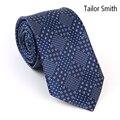 Tailor Smith Mens Luxury Fashion Designer Navy Tie Formal Wedding Suit Dress Tie Pure Natural Silk Jacquard Handmade Cravat