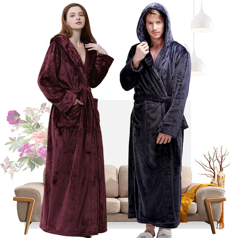 c60f35972a Women Winter Hooded Extra Long Thick Flannel Bath Robe Luxury Peignoir Warm Dressing  Gown Men Bathrobe