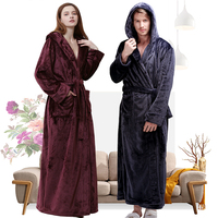 Women Winter Hooded Extra Long Thick Flannel Bath Robe Luxury Peignoir Warm Dressing Gown Men Bathrobe Bridesmaid Wedding Robes
