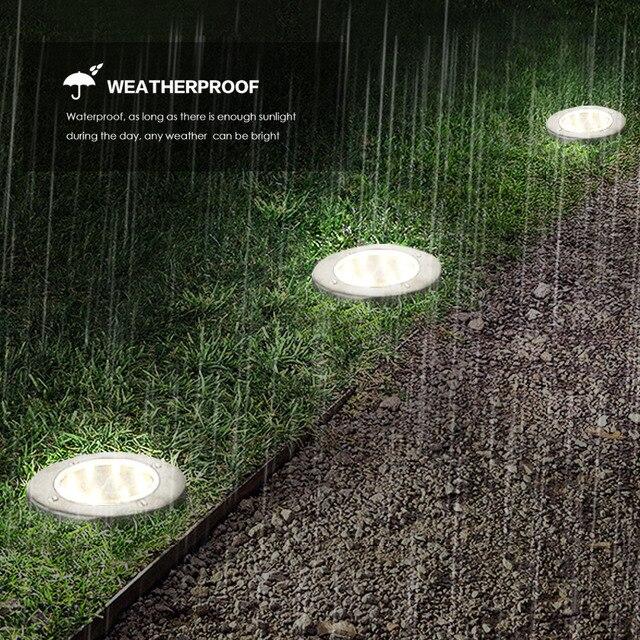 ضوء أرضي تعمل بالطاقة الشمسية حديقة المناظر الطبيعية مصباح حديقة 8 LEDs ضوء مدمج في الهواء الطلق الطريق الدرج التزيين الخفيفة مع جهاز استشعار الضوء