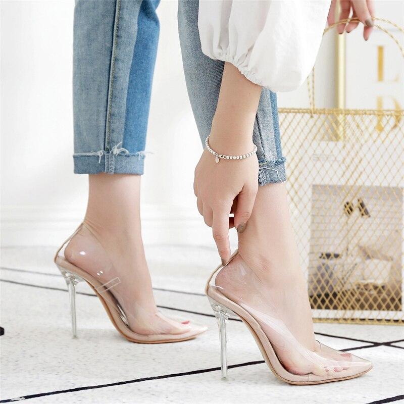 2019 Women 11cm High Heels Scarpins Female Dress Wedding Transparent Sandals Shoes Lady Sexy Heels Summer Fetish PVC Prom Pumps