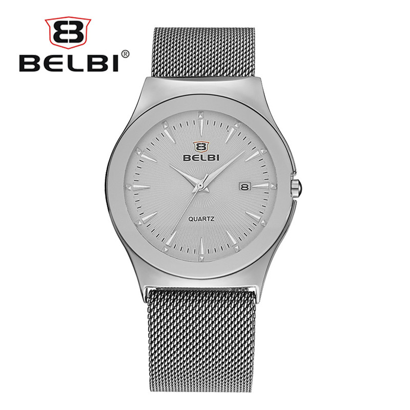 Business Men Watches New Fashion Gold Ultra-thin Steel Milan Watch Strap Anto Date for Modern Male Watch China Brand BELBI