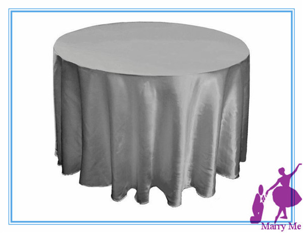 Attractive 15pcs 90u0027u0027 Satin Round Wedding Tablecloth In Grey For ...