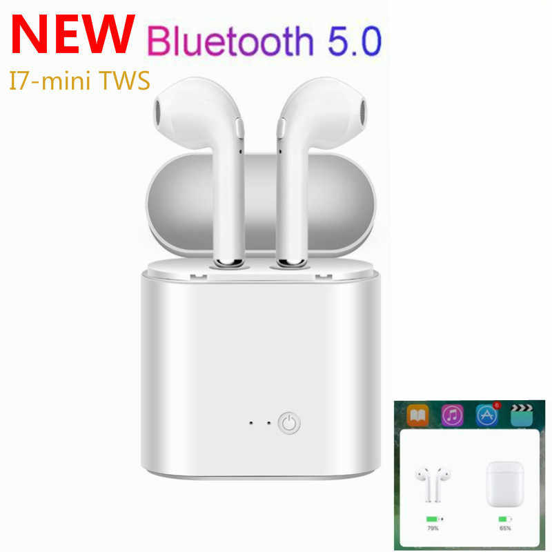 Auricular TWS, inalámbrico por Bluetooth I7 I7s, Mini auriculares estéreo para música para Iphone X, 7, 8 y Samsung Xiaomi, disponible en Rusia