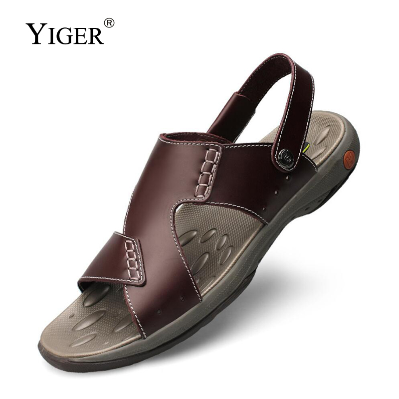 YIGER Men sandals genuine leather male causal beach slippers big size summer Wear resistant men's slides new man sandals  0344(China)