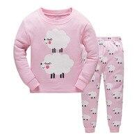 Dizoon Pajamas For Girls Long Sleeve Cotton Pink Sheep Pajama Underwear For Girls Toddler Kids Sleepwear