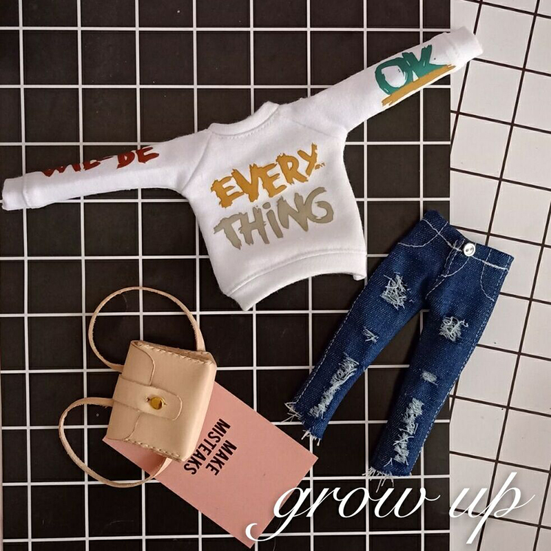 Cool Doll's Blyth Clothes Printing Long Sleeve Hoodie/Jeans Blyth Pant For Ob24 Licca Pullip Clothing For 1/6 Doll Accessories