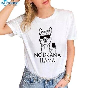 Summer Funny Graffiti Llama T-Shirt Women Cool No Drama Llama Letter Printed T shirt Soft Short Sleeve Casual White Tops S1651