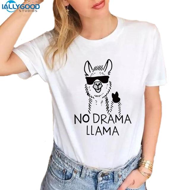 66e166e7540 Summer Funny Graffiti Llama T-Shirt Women Cool No Drama Llama Letter  Printed T shirt