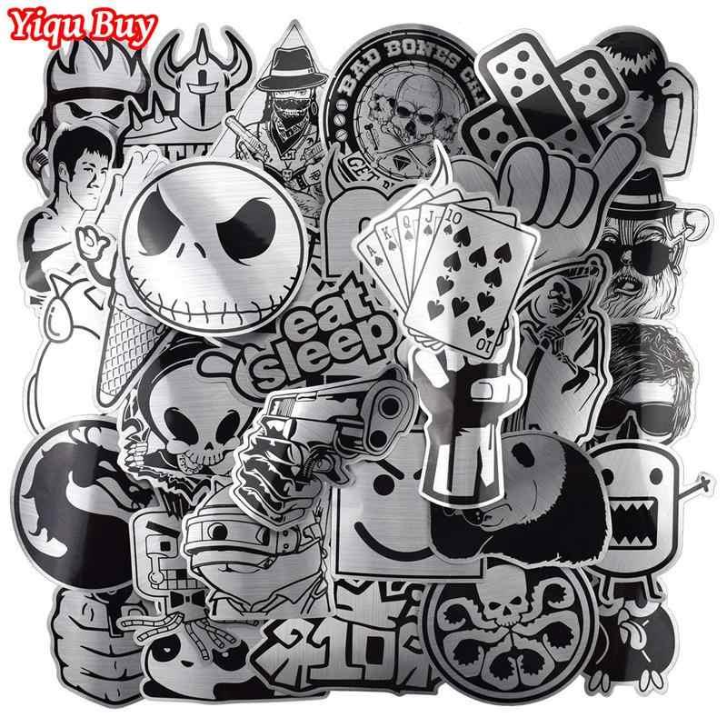 Gorąca sprzedaż 50 sztuk czarny metaliczny i białe naklejki Graffiti naklejka na laptopa bagażnika samochodu stylizacji gitara ścienna fajne naklejki