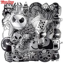 Hot Sale 50 Pcs Metallic Black and White Stickers Graffiti Sticker for Laptop Luggage Car Styling Wall Guitar Cool Stickers cheap Yiqu Buy 0 04 in(0 1cm) 1 2 in(3cm)-3 15 in(8cm) Waterproof PVC Sun-protection Leave no Trace Not repeat 40 g pack CT20050N