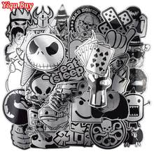 Hot Sale 50 Pcs Metallic Black and White Stickers Graffiti Sticker for Laptop Luggage Car Styling Wall Guitar Cool Stickers(China)