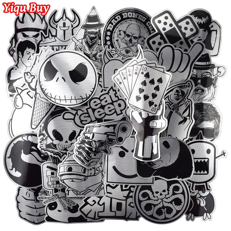 Hot Sale 50 Pcs Metallic Black and White Stickers Graffiti Sticker for Laptop Luggage Car Styling Wall Guitar Cool Stickers image