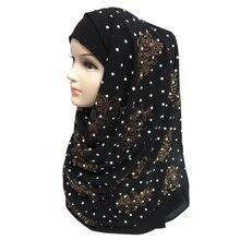 Толстый пузырь шифон блестит Цветочный горошек Puff печати Женская Мусульманский Исламский хиджаб шарф шаль глава обёрточная бумага однотонные цвета