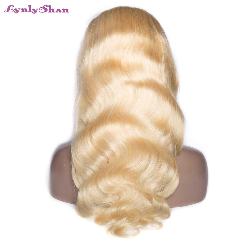 Lynlyshan Brazilian Body Wave Full Lace Human Hair Wigs with Baby Hair #613 Color Remy Human Hair Wigs For Women Free Part