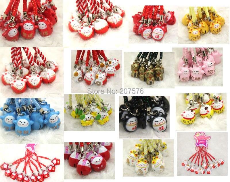 Free Shipping 100pcs Mini cartoon mix Lucky Cat Shape Chain Cute Mobile Phone Charm Strap bell
